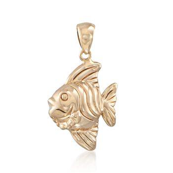 14kt Yellow Gold Fish Pendant, , default
