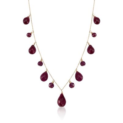 34.15 ct. t.w. Ruby Drop Necklace in 14kt Yellow Gold, , default