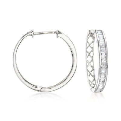 1.00 ct. t.w. Baguette Diamond Hoop Earrings in 14kt White Gold, , default
