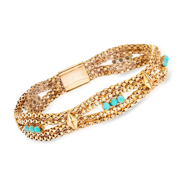 "C. 1970 Vintage Reconstituted Turquoise and Mesh Bracelet in 18kt Yellow Gold. 7.75"", , default"