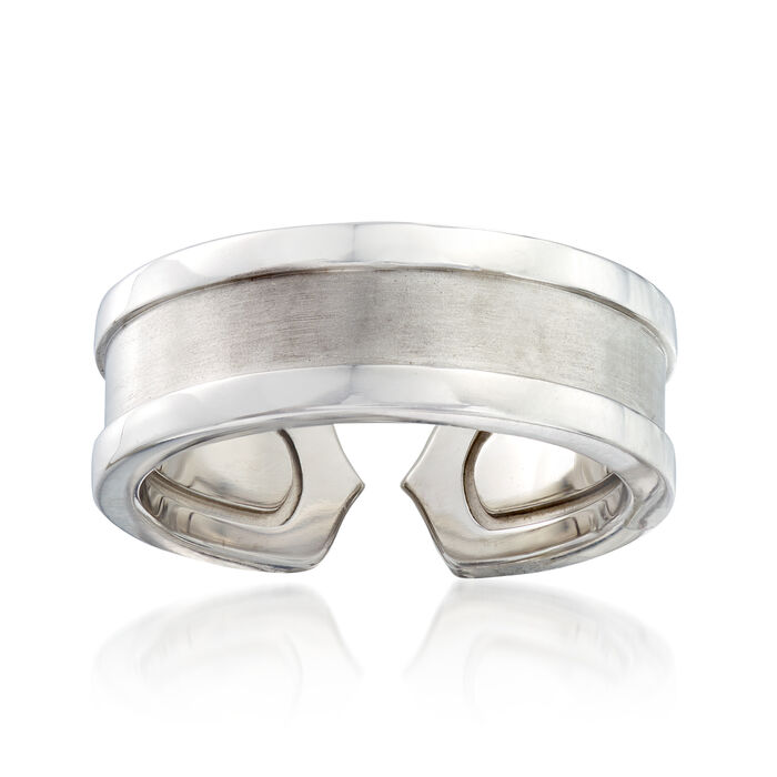C. 2000 Vintage Cartier Band Ring in 18kt White Gold. Size 4.5, , default