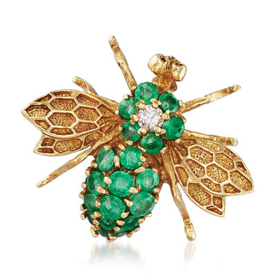 C. 1980 Vintage 1.10 ct. t.w. Emerald Bee Pin With Diamonds in 14kt Yellow Gold, , default