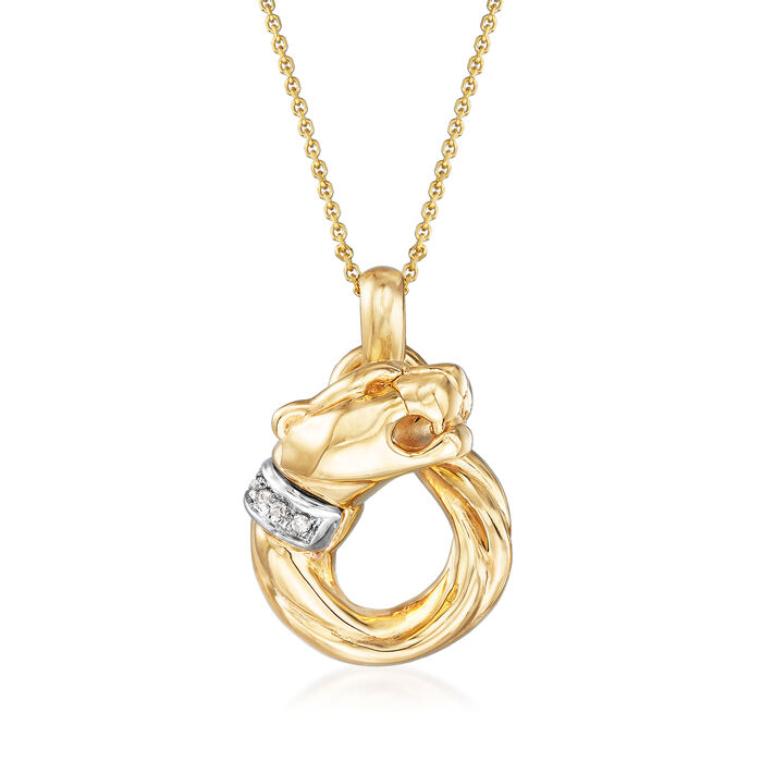 """Phillip Gavriel """"Italian Cable"""" Panther Necklace with Diamond Accents in 14kt Yellow Gold"""