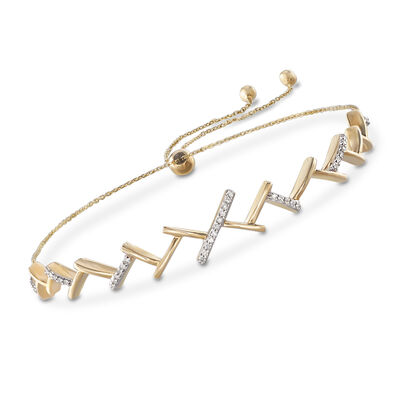 ".10 ct. t.w. Diamond ""Ski Track"" Adjustable Bolo Bracelet in 14kt Yellow Gold, , default"