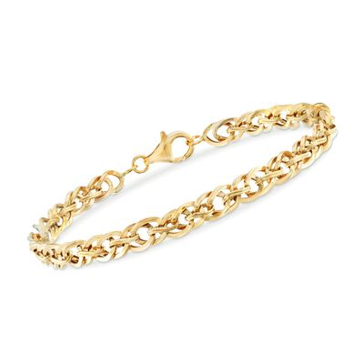 18kt Yellow Gold Diamond-Shaped Interlocking Link Bracelet, , default