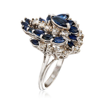 C. 1970 Vintage 2.20 ct. t.w. Sapphire and .90 ct. t.w. Diamond Swirl Cluster Ring in 14kt White Gold. Size 6
