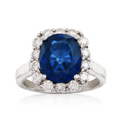 4.40 Carat Sapphire and 1.10 ct. t.w. Diamond Ring in 14kt White Gold , , default