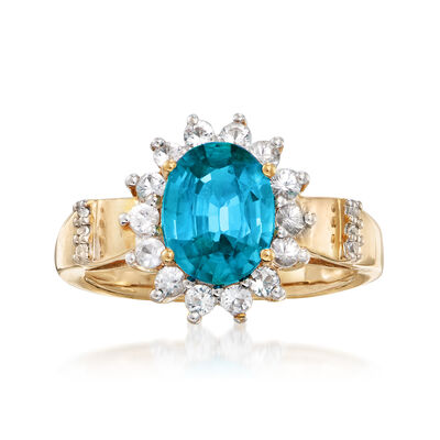 C. 1970 Vintage 2.20 Carat Blue Zircon and .50 ct. t.w. Fluorite Ring in 14kt Yellow Gold, , default