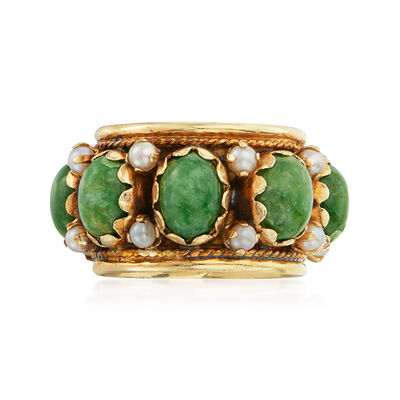 C. 1970 Vintage Green Nephrite and Seed Pearl Ring in 14kt Yellow Gold