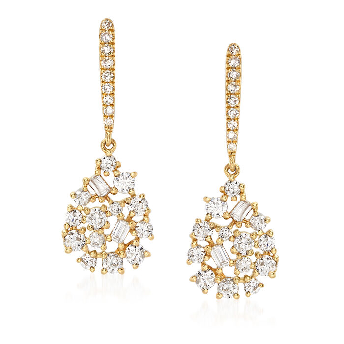 .77 ct. t.w. Baguette and Round Diamond Mosaic Drop Earrings in 18kt Yellow Gold