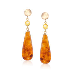 13.00 ct. t.w. Amber Teardrop Earrings With Citrine Accents in 14kt Yellow Gold, , default