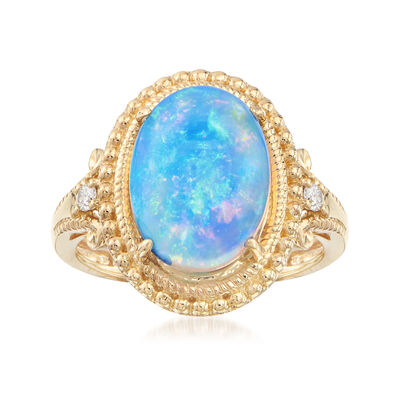 Oval Cabochon Opal Ring in 14kt Yellow Gold with Diamond Accents, , default