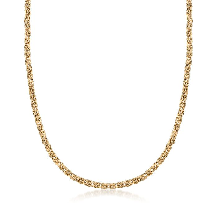 4mm 18kt Yellow Gold Byzantine Necklace