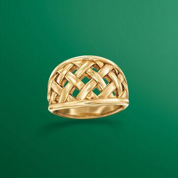 14kt Yellow Gold Open Basketweave Ring, , default