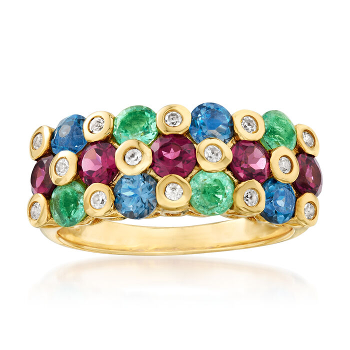 2.80 ct. t.w. Multi-Gemstone Ring in 18kt Gold Over Sterling, , default