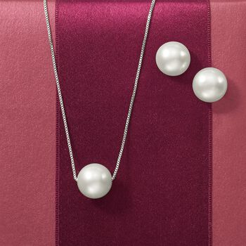 "11-12mm Cultured Pearl Jewelry Set: Necklace and Stud Earrings in Sterling Silver. 16"", , default"