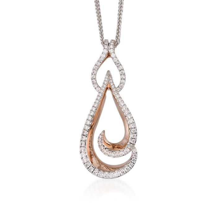 "Simon G. .82 ct. t.w. Diamond Pendant Necklace in 18kt Two-Tone Gold. 18"", , default"