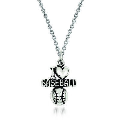 "Sterling Silver Antique I Heart Baseball Charm Necklace. 18"", , default"