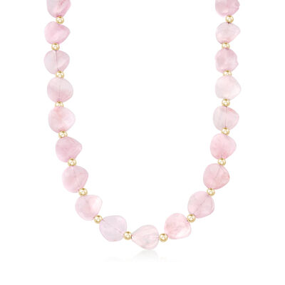 Rose Quartz Bead Necklace with 14kt Yellow Gold, , default