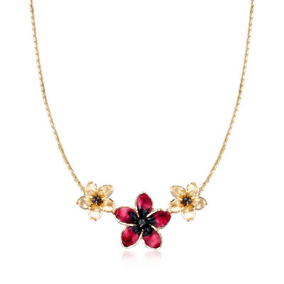 Italian 2mm Black Onyx and Enamel Flower Necklace in 14kt Yellow Gold, , default