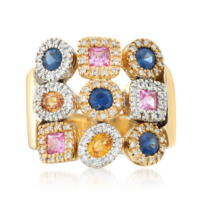 C. 1990 Vintage 1.80 ct. t.w. Multicolored Sapphire and .30 ct. t.w. Diamond Ring in 18kt Yellow Gold, , default