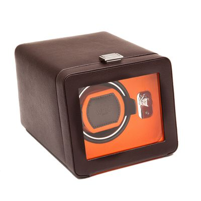 """Windsor"" Brown and Orange Single Watch Winder with Cover by Wolf Designs, , default"