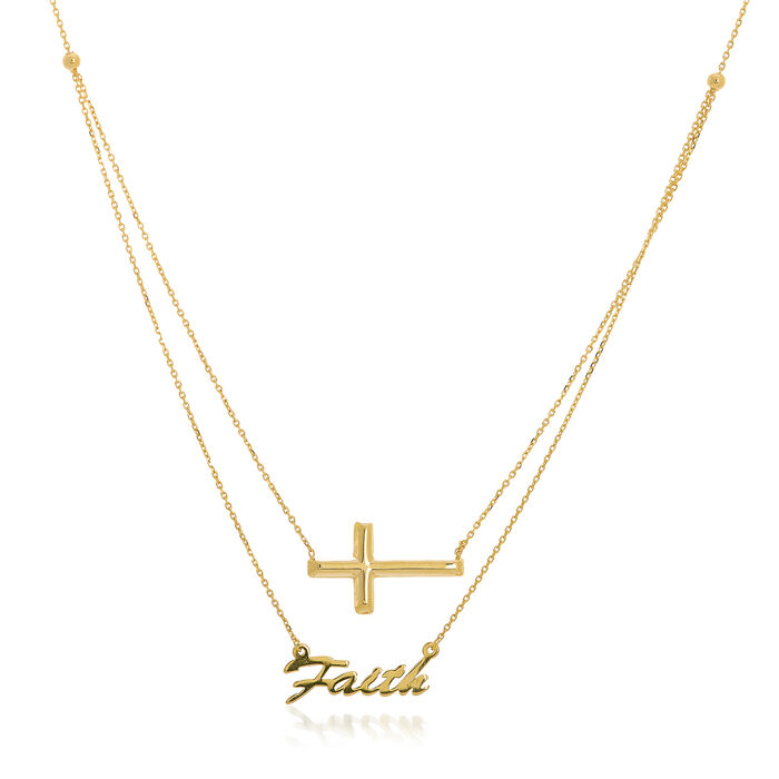 14kt Yellow Gold Duo East-West Cross and Faith Necklace, , default