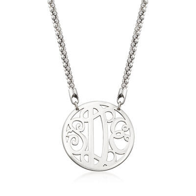 Sterling Silver Framed Monogram Necklace, , default