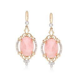 Pink Opal and .30 ct. t.w. Diamond Drop Earrings With 14kt Yellow Gold, , default