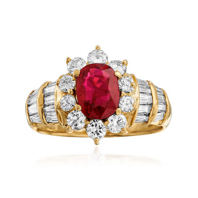 C. 1980 Vintage 1.66 ct. t.w. Diamond and 1.39 Carat Ruby Ring in 18kt Yellow Gold, , default