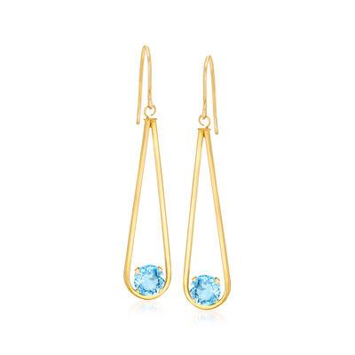 1.50 ct. t.w. Swiss Blue Topaz Teardrop Earrings in 14kt Yellow Gold