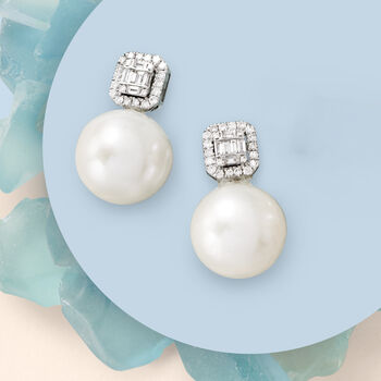 12-14mm Cultured Pearl and .42 ct. t.w. Diamond Earrings in 18kt White Gold. Drop Earrings