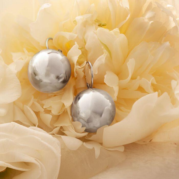 Italian 18mm Sterling Silver Big Bead Drop Earrings