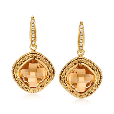 Italian 13.00 ct. t.w. Citrine and .14 ct. t.w. CZ Drop Earrings in 18kt Gold Over Sterling, , default