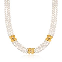 "C. 1980 Vintage Tiffany Jewelry 4.5mm Cultured Pearl and .60 ct. t.w. Diamond Floral Multi-Strand Necklace in 18kt Yellow Gold. 15.5"", , default"
