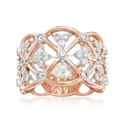 "Simon G. ""Classic Romance"" .62 ct. t.w. Diamond Openwork Ring in 18kt Rose Gold. Size 7, , default"