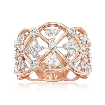"""Simon G. """"Classic Romance"""" .62 ct. t.w. Diamond Openwork Ring in 18kt Rose Gold. Size 7, , default"""