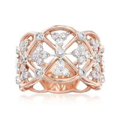 "Simon G. ""Classic Romance"" .62 ct. t.w. Diamond Openwork Ring in 18kt Rose Gold, , default"