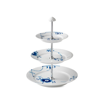"Royal Copenhagen ""Blue Fluted Mega"" Porcelain 3-Tier Etagere"