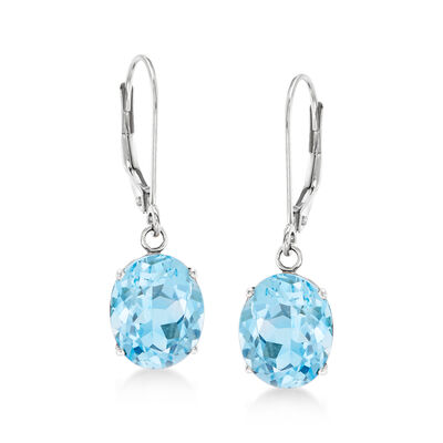 5.50 ct. t.w. Blue Topaz Drop Earrings in 14kt White Gold