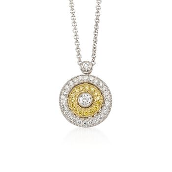 "Simon G. .27 ct. t.w. White and Yellow Diamond Circle Pendant Necklace in 18kt Tri-Colored Gold. 18"", , default"