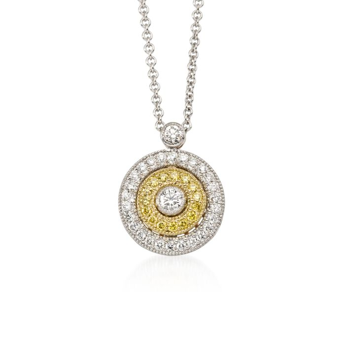 """Simon G. .27 ct. t.w. White and Yellow Diamond Circle Pendant Necklace in 18kt Tri-Colored Gold. 18"""", , default"""