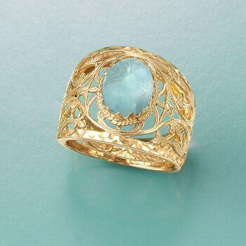 Italian 4.00 Carat Blue Topaz Openwork Vine Ring in 14kt Yellow Gold, , default