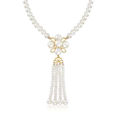 2-7mm Cultured Pearl Flower with Tassel Necklace with 14kt Yellow Gold, , default