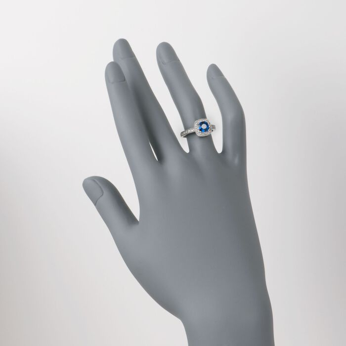 1.05 Carat Sapphire Ring with Diamonds in 14kt White Gold