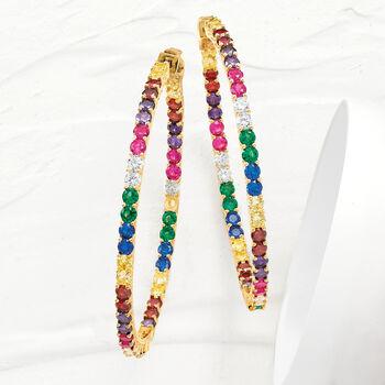 """2.50 ct. t.w. Multicolored CZ Inside-Outside Hoop Earrings in 18kt Gold Over Sterling. 2 1/4"""""""