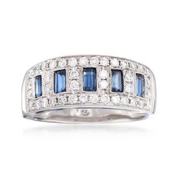 .80 ct. t.w. Sapphire and .52 ct. t.w. Diamond Ring in 14kt White Gold, , default