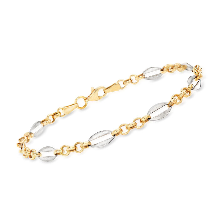 14kt Two-Tone Gold Alternating Rolo-Link  Bracelet