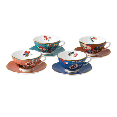 "Wedgwood ""Paeonia Blush"" Fine Bone China Teacup and Saucer Set, , default"
