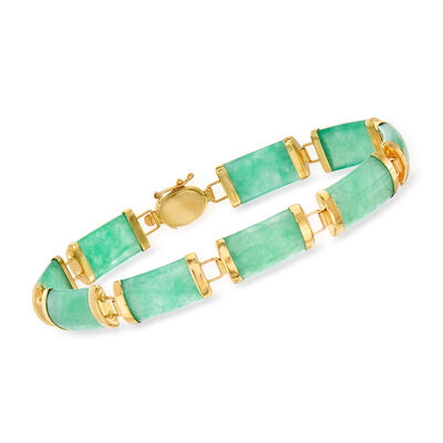 Green Jade Bracelet in 14kt Yellow Gold, , default